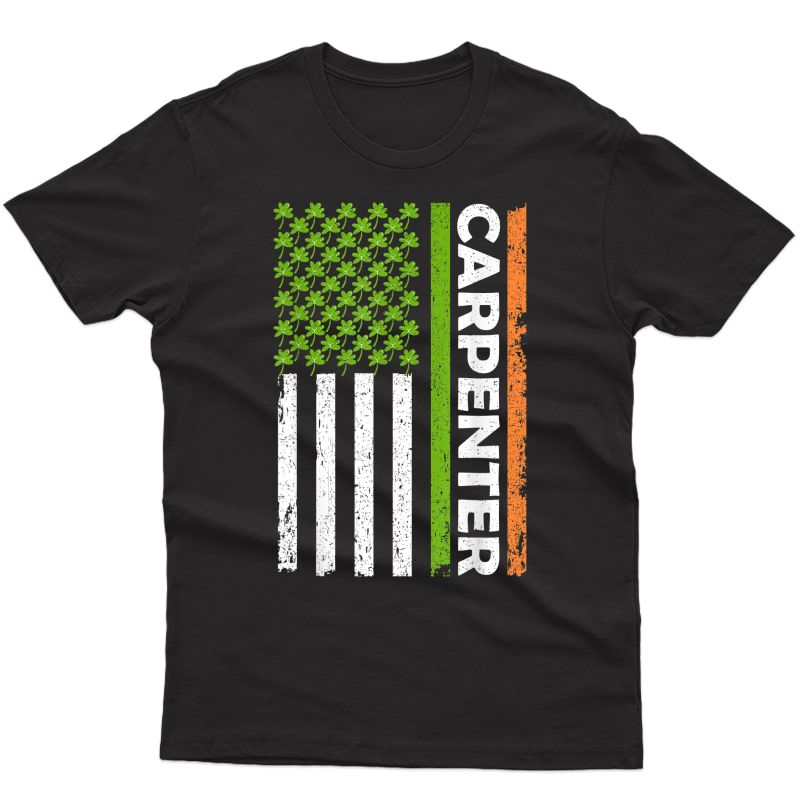 Vintage Irish Carpenter American Flag St Patrick's Day Gifts T-shirt