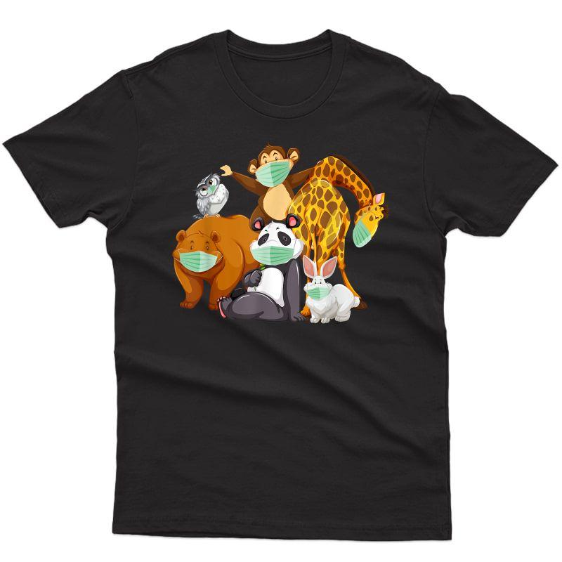 Wild Animal Face Mask Bear Monkey Panda Giraffe Bunny Cute T-shirt