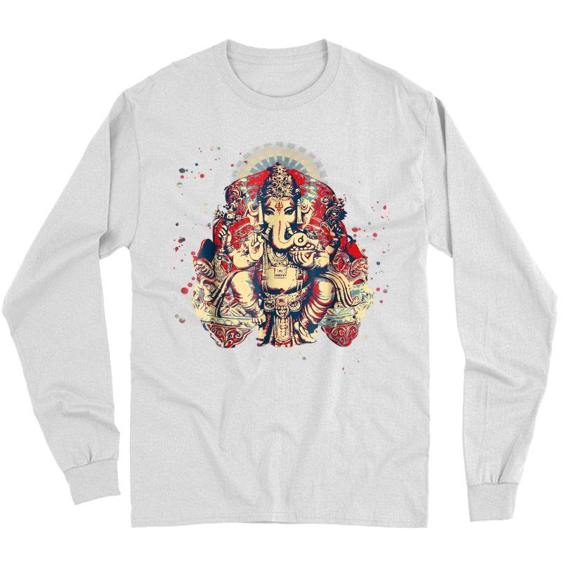 Yoga Shirts Spiritual Hindu God Ganesha T-shirt Meditation Long Sleeve T-shirt