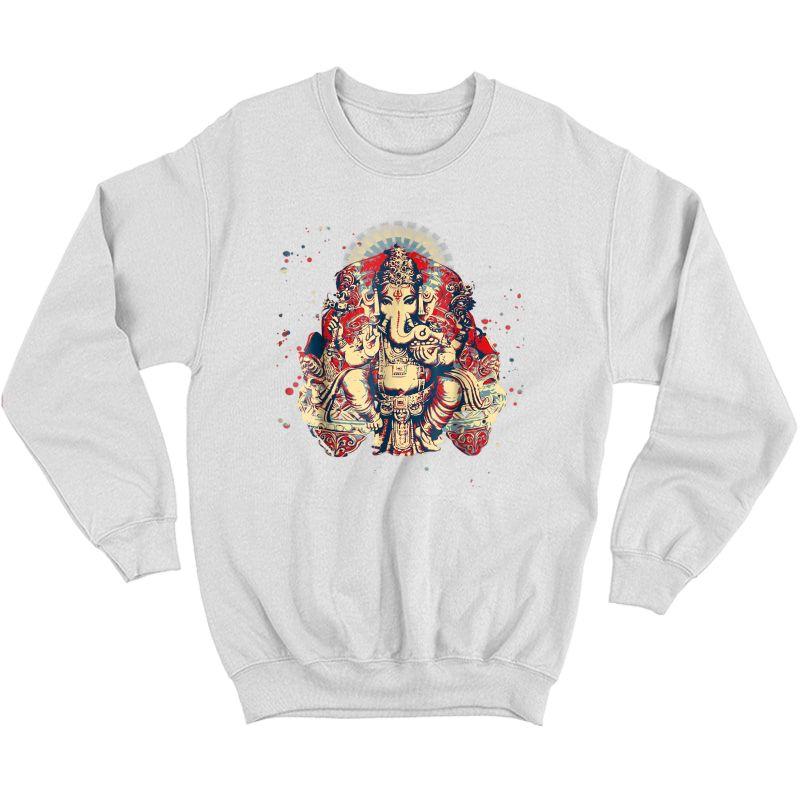 Yoga Shirts Spiritual Hindu God Ganesha T-shirt Meditation Crewneck Sweater